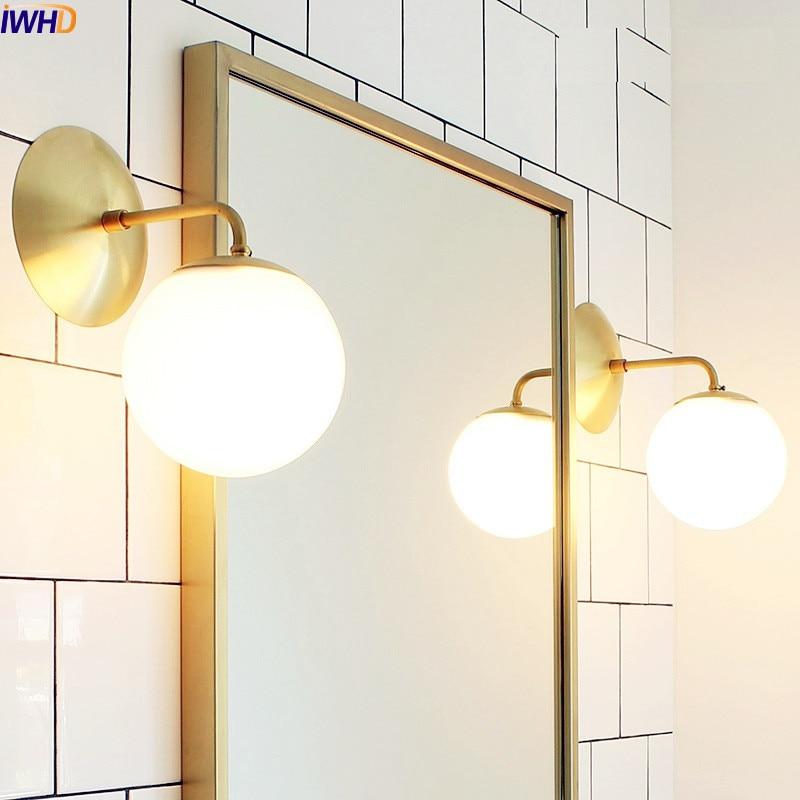 US $66.11 27% OFF|IWHD Nordic Postmodernen Kupfer LED Wandleuchte Esszimmer  Vintage Wand Leuchten LED Badezimmerspiegel Licht Arandelas-in ...