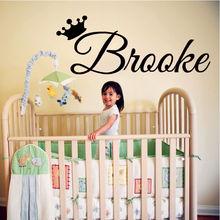 Princess Girls Personalised Name Vinyl Wall Sticker Bedroom Decal For Babygirl Crown Custom Baby M-134
