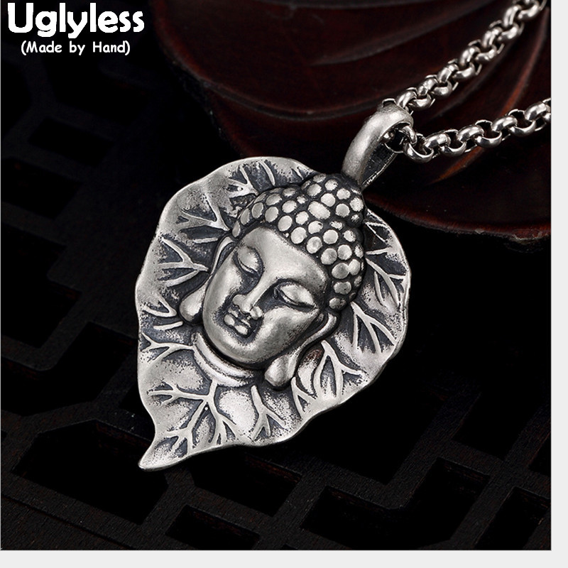 Uglyless 100% Real 990 Pure Silver Buddha Pendant Necklace No Chain Thai Silver Leaf Pendants Handmade Zen Fine Jewelry Buddhism