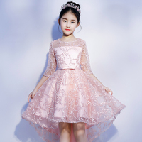 Communion Banquet Gowns for girl Short Before Long Back Lace Clothing Luxury Children Girl's Ball Gown Dress Elegant Clothes S32