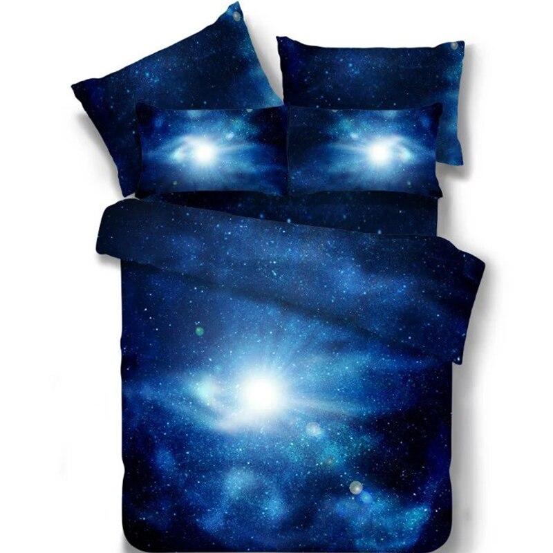 Acheter Brillant Ciel 3D Galaxy Bleu Lumière Du Soleil Faisceau 4 Pcs Simple/Double/Full/Double/Queen Size Lit couette/Couette/Doona Cover Set Feuille Shams de bed quilt fiable fournisseurs