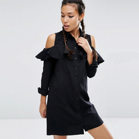Off Shoulder Ruffle Black Dress 2017 Summer Long Sleeve Sexy Pink Short Women Shirt Dresses Cold