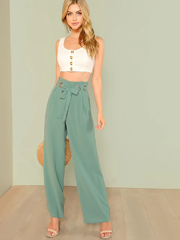 Casual Loose Bandage Women's   Pants   2019 New Summer Green High Waist   Wide     leg     Pants   Elegant Office Ladies Trousers