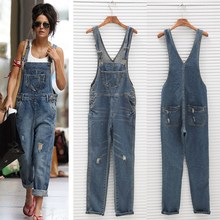 Ladies Spring Autumn Loose Jeans Rompers With Pocket Fashion Women Denim Jumpsuit Female Casual Overall Playsuit women jeans distressed jeans striped overall denim overall