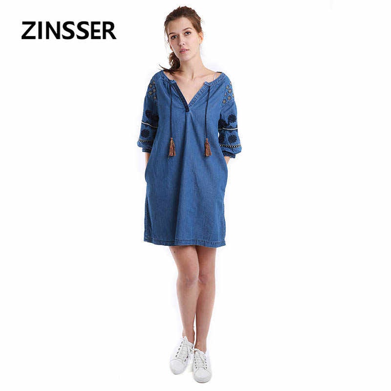 Women Denim Fancy Dress Loose Casual Embroidery Half Sleeve 100% Cotton Washed Blue Female Lady Dress