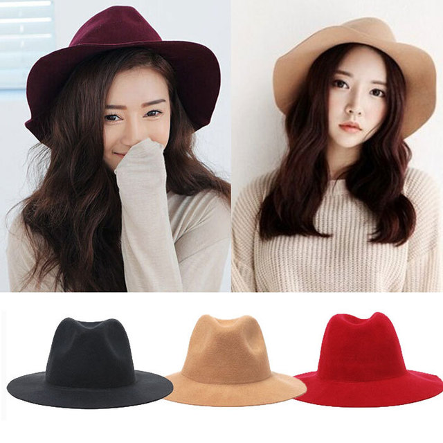 e774f38c49fec 2015 moda primavera verano mujeres sombrero de ala ancha para mujer  snapback Floppy franela sentían Fedora