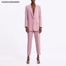Fashion Slim Plaid Blazer Suits Spring V neck One Button Blazer High Waist Zipper Pants Sets Women Suit Sets XZ2004 2003
