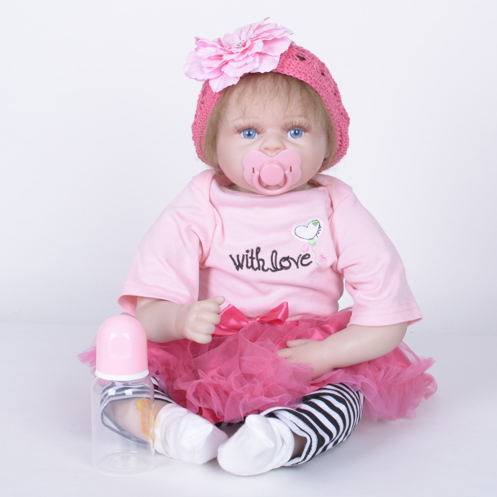 22 inches Soft Silicone Cute Newborn Baby Doll Reborn Princess Girl Doll with Cloth Body for Kids Toy Birthday Christmas Gift [mmmaww] christmas costume clothes for 18 45cm american girl doll santa sets with hat for alexander doll baby girl gift toy