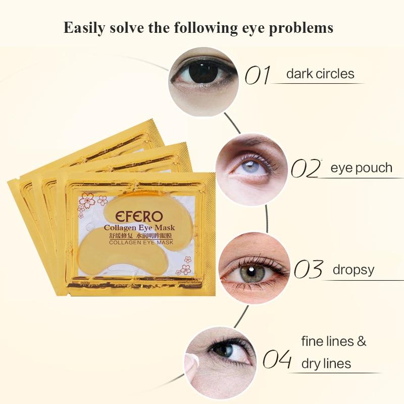 efero Anti-Aging Gold Mask Face Masks Crystal Collagen Eye Mask Eye Patches Under the Eye Mask Dark Circle Anti-Puffiness Cream 3
