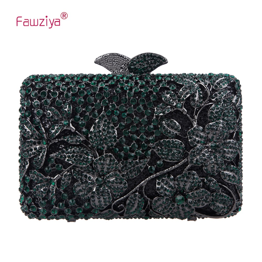 Fawziya Clutch Bag Crossbody Kisslock Flower Purses With Rhinestones Crystal Clutch Evening Bag kisslock chain bag