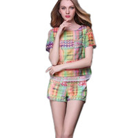 Plaid Sweet Lady Summer Suit Tees Shorts Large Size XL Fashion Women Clothing Set Printed Style