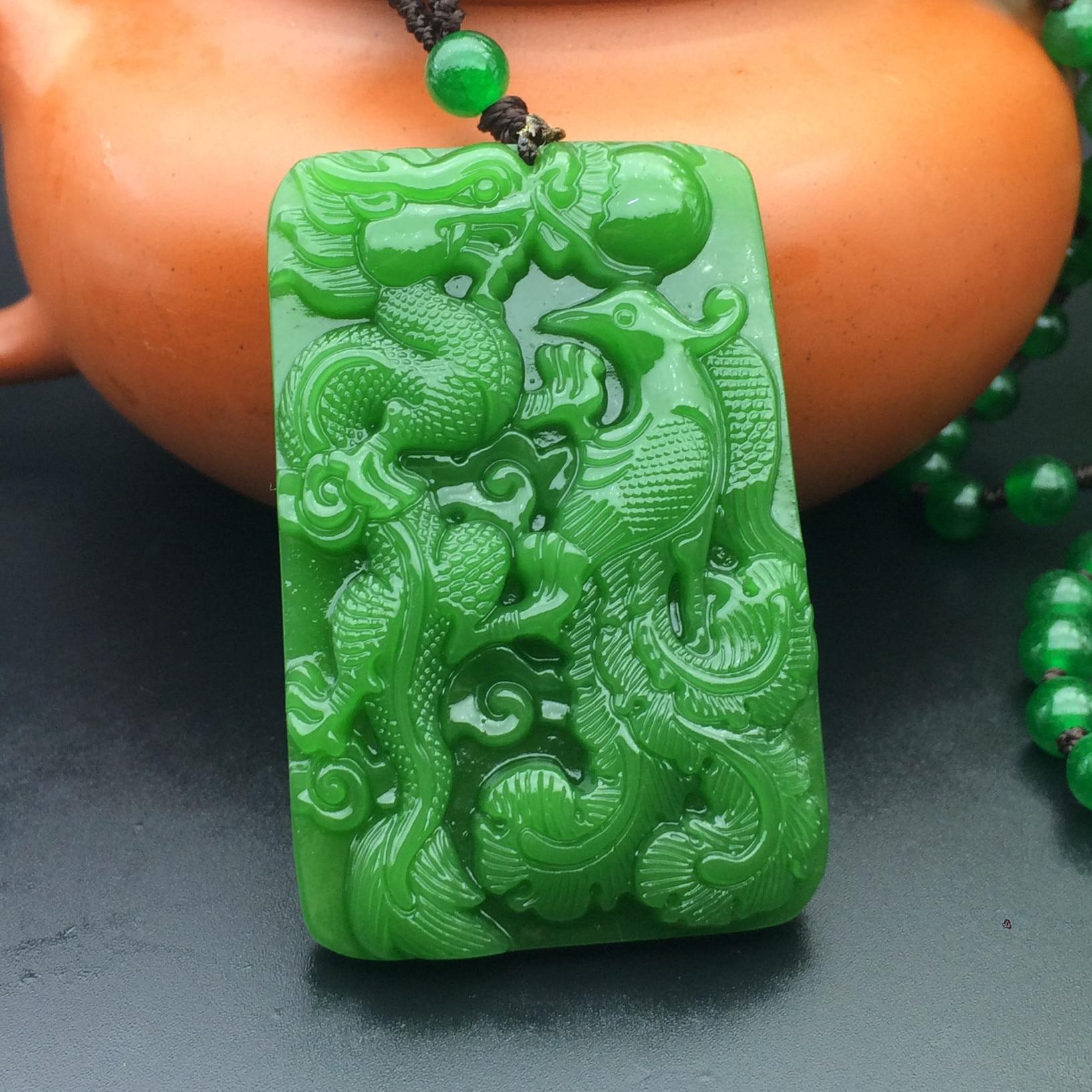 Xinjiang Hetian jade dragon pendant spinach green phoenix couple Pendant Necklace