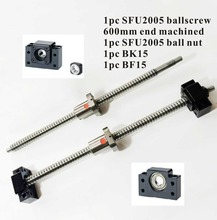 CNC Ballscrew SFU2005 Set: L600mm husillo de BOLAS End Mecanizada + SFU2005 Tuerca de Bola + BK15 BF15 End Soporte para Tornillo de Bolas