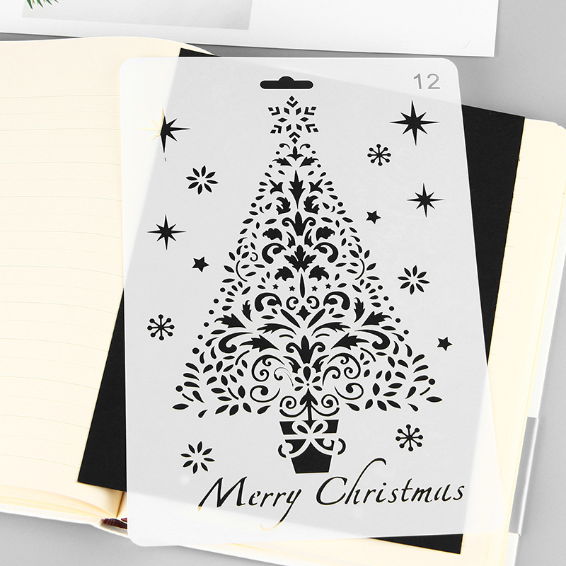 Christmas Diy Painting Template Glass Decorative Snowflake Hollow Lace Ruler Book Album For Graffiti Drawing Board Plastic