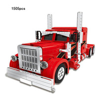 Hot Technics Heavy Duty Red Truck Head Moc Building Block Model Bricks Toys Collection Adult Children Gifts