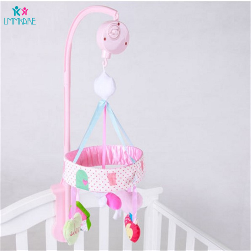 Newborn Baby Rattles Pink Rabbit Music Rotating Crib Bell Pacifying Mobile Bell Toy For Girl Bedroom Decoration Baby Bedding Set