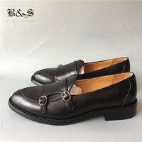 Черный и Street Винтаж ручной работы монах Бизнес свадебные туфли лоферы из натуральной кожи