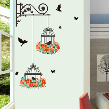 Colorful Flower birdcage wall sticker decals flying birds plants adhesive living room wallpaper bedroom nursery window decor