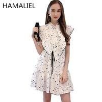 HAMALIEL Runway Dress 2017 Summer Fahion Star Printed Clothing Butterfly Sleeve Ruffled Bow Women Pleated Chiffon