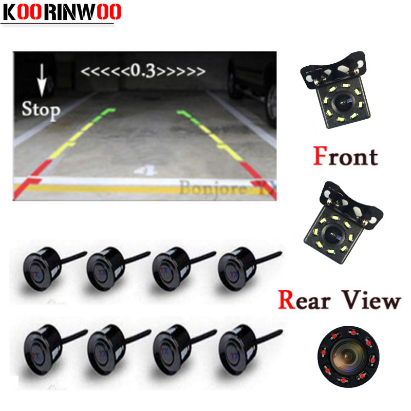 цена на Koorinwoo Dual Core CPU Car Parking Sensors 8 Probes Car Rear view Camera Parktronic Video System RCA distance Image Black White