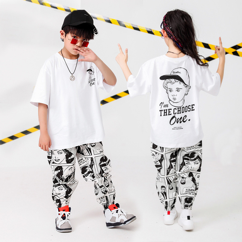 Kids Hip Hop Clothing Oversized T Shirt Cartoon Running Casual Pants For Girls Boys Dance Costumes Wear Ballroom Dancing Clothes