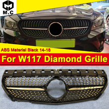 W117 Front Grill Diamond Grille For MercedesMB CLA-W117 Cla180 Cla200 Cla250 Cla300 cla350 grille ABS Materia Black Mesh 2014-18