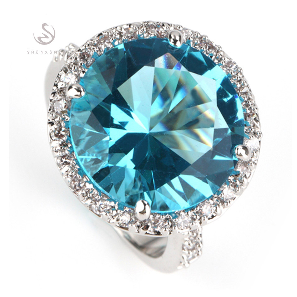 Romantic Free shipping light blue stone Best Sellers fashion Silver Plated Recommend RING R750 sz 6