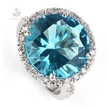 Envío gratis romántica luz de la piedra azul top ventas moda plateado recomiendan anillo R750 sz #6 7 8 9 10