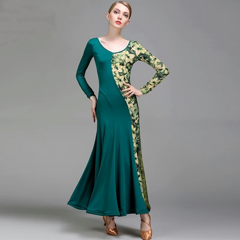Green Yellow Ballroom Dress Standard Ballroom Dancing Clothes Competition Standard Dance Dress Waltz Dance Wear Flamenco Dresses
