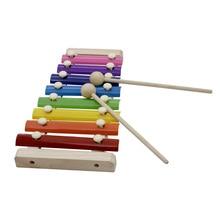 Красочные 8 нот ксилофон Glockenspiel с деревянными Mallets музыкальный ударный инструмент игрушка подарок для детей