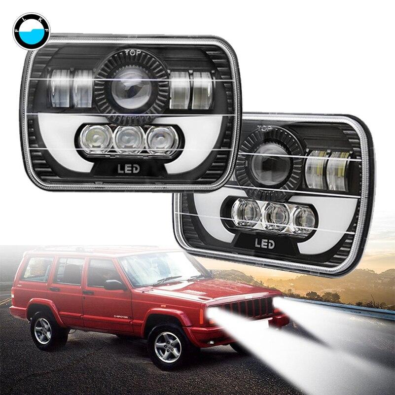 5x7'' Auto led headlamp 6x7 inch Rectangular LED Headlights for GMC Truck 4x4 Offroad Jeep Wrangler YJ Cherokee XJ MJ. 9012 hir2 led headlight bulbs 50w 8000lm fanless auto headlamp conversion kit for toyota chevrolet cadillac buick gmc ford jeep