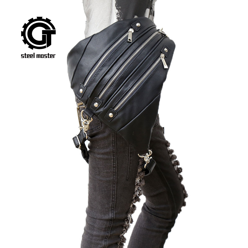 Womens Steampunk Backpack Bags 2017 New Rock Triangle Bags with zipper Black Leather Gothic Ladies Bag