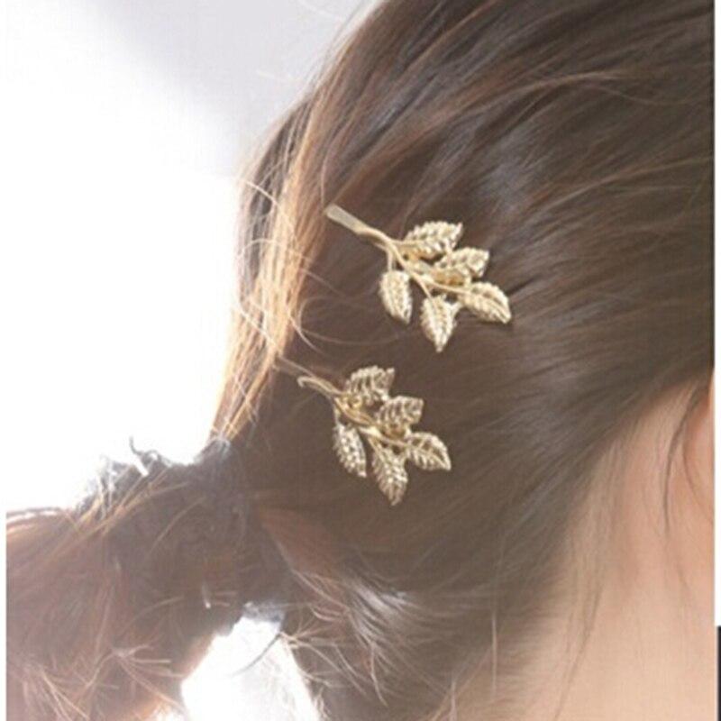 1Pcs Fashion .Womens Cute Lovely Leaves Golden Metal Hair Punk Hairpin Re P1Q0