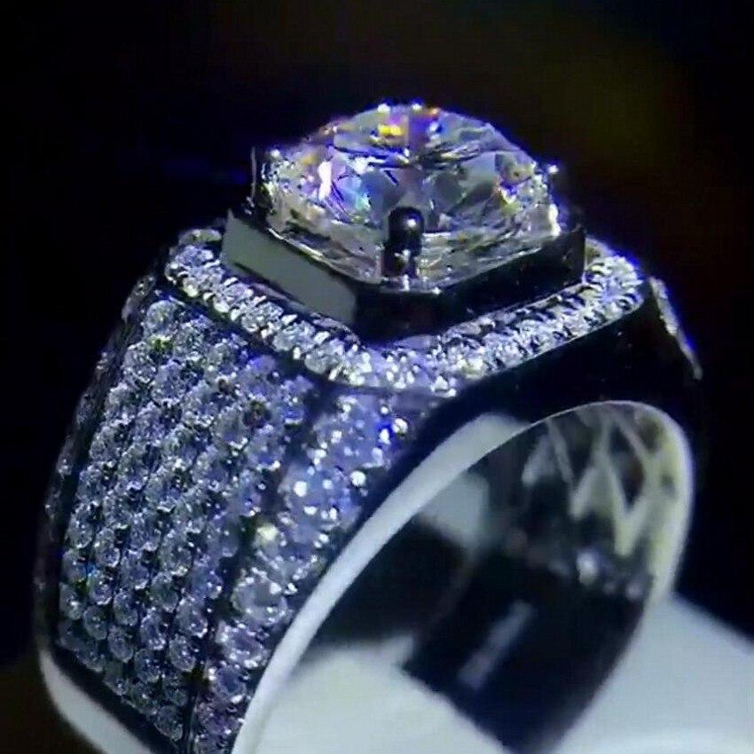 Bague homme luxe classique Vintage véritable argent plaqué zircone 8mm Diamant CZ pierre anneaux de mariage pour hommes taille 8/9/10/11/12/13