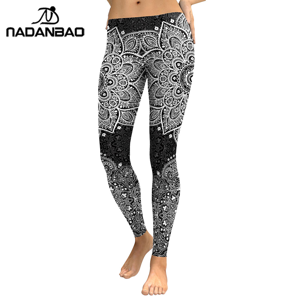 NADANBAO 2019 Grey Mandala Leggings Women Flower Digital Print Plus Size Fitness Legging Workout High Waist Slimm Clothing