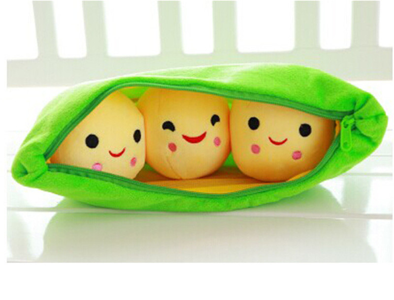 25CM Cute Pea Stuffed Plant Doll Baby Plush Toy For Children Or Girlfriend Funny Stuffed & Plush Pea-shaped Pillow Toy