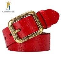 FAJARINA Ladies Fashion Quality Cow Skin Belt Fashion Male Female Cowhide Genuine Leather Woven Multi Colour