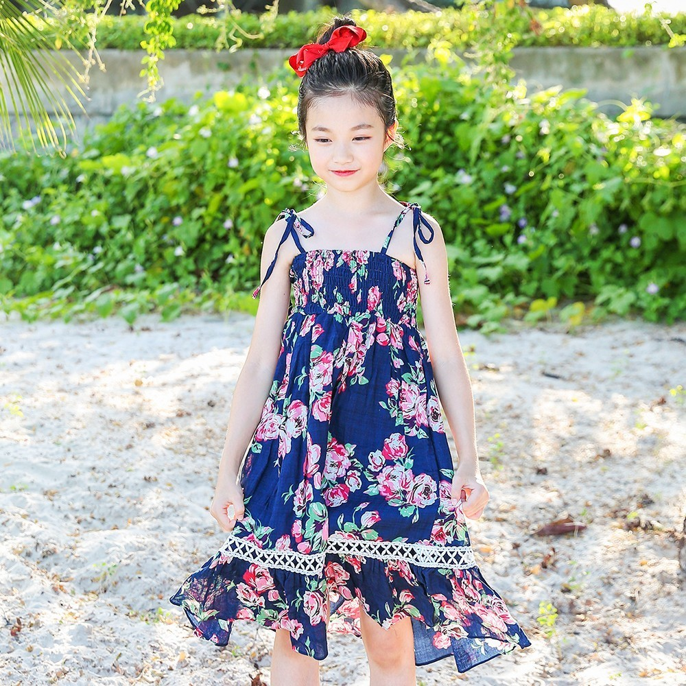 floral print cotton summer dress for girls 2018 ruffles blue long teenage girl clothes princess dress kids little girls clothing 2018 new fashion little girls summer floral dress print flowers loose casual party dress for gril cotton children kids clothes