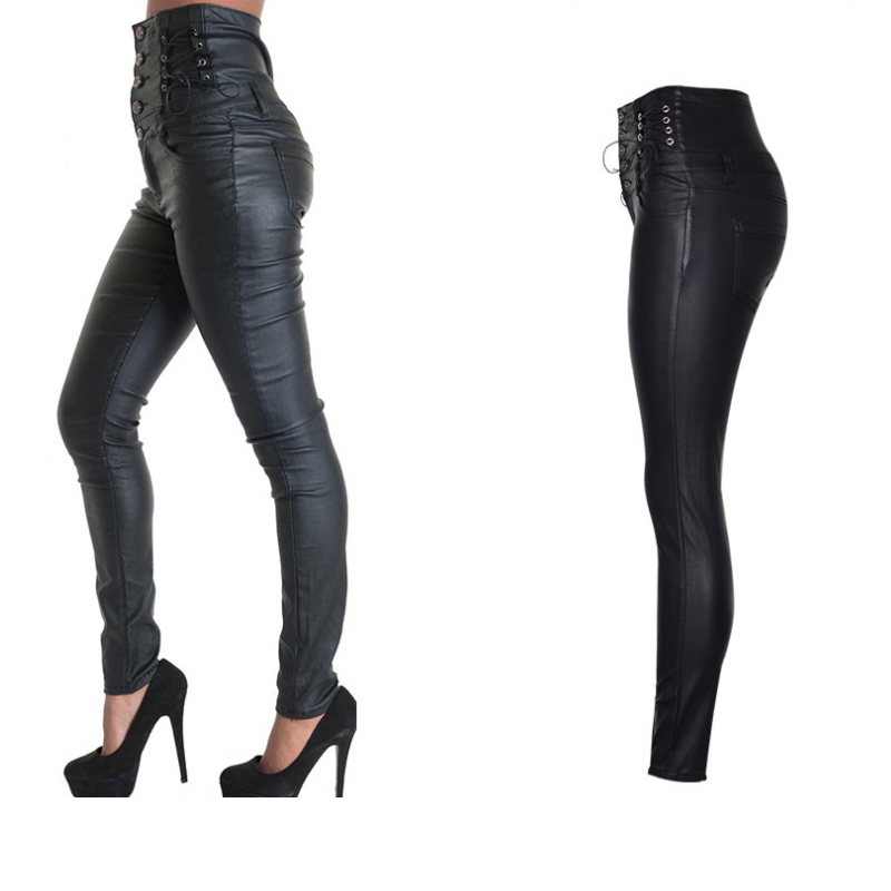 df2ba89508d8 Coated High Waiste Jeans Motorcycle Super High Rise Skinny Jeans Women  Stretch Shaping Hip Jeans Bandages Pencil Pants For Women