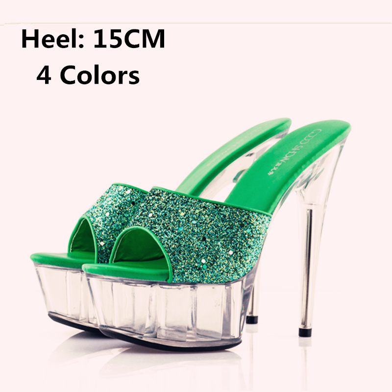 Size 34-44 Qitong PU Woman Thin Ultra High Heels Platform Slipper and Sandals Nightclub Womens Shoes Heeled Sexy Beach Shoes  euro size 34 44 pu woman 15 and 17cm high heels platform sandals nightclub woman high heeled birthday party shoes for t station
