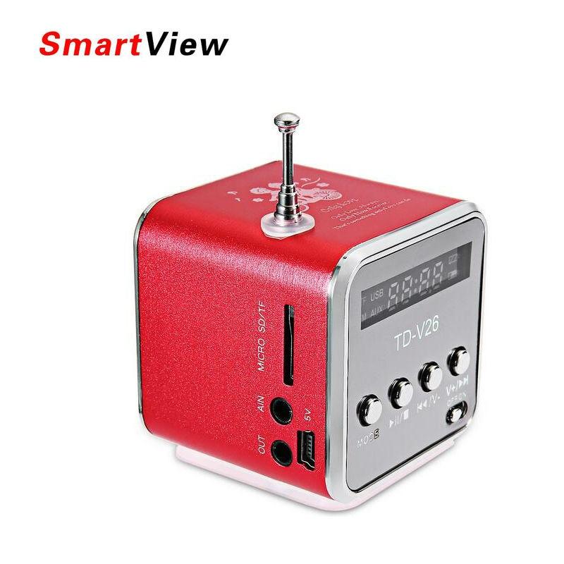 VONTAR Portable Mini speaker Metal shell LCD Screen FM Radio USB TF Card for outdoors sports Stereo Bass Mini Hifi LoudSpeaker