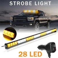31'' 28 LED Car Warning Light Bar Flash Strobe Lamp Amber&White Emergency Beacon Car Lights Signal Lamp