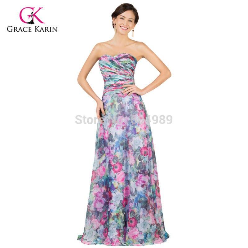 Long Evening Dress 2018 Grace Karin Floral Print Chiffon Padded ...