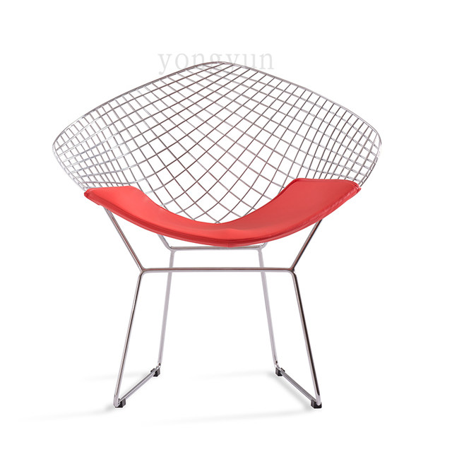 FREE SHIPPING Leisure Chair Diamond Steel Wire Chair Bertoia Diamond Chair  Cushion Modern Wire Chair Chromed