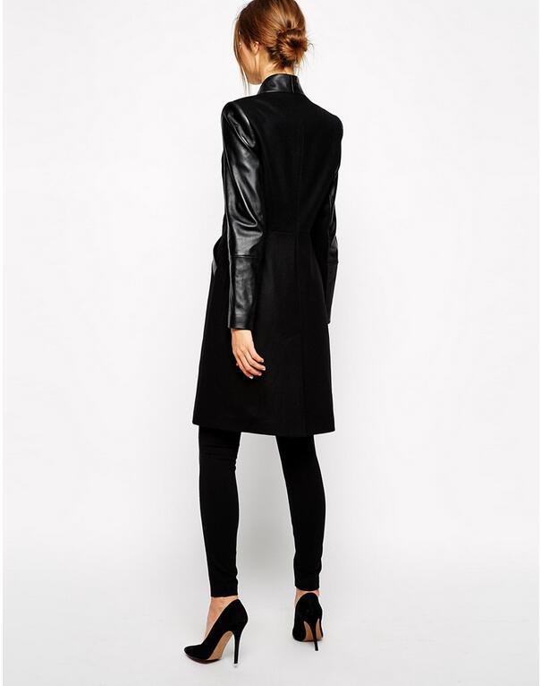 2017 Femme Laine Hiver Longues Manteau E20 À Coton Bomber Feminina De Nouveau Long Couture Black Couro Jaqueta Pu Veste Manches Cuir qrqS4