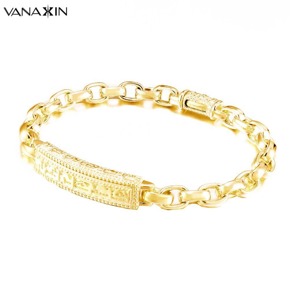 VANAXIN Silver 925 Jewelry Gold/Silver/Black Color Men Bracelet 19 CM 20 CM Bracelets For Women Classic Jewels Pulseira Feminina