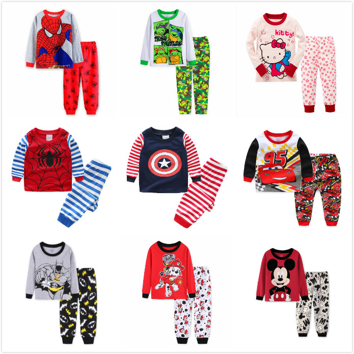 2019 Children   pajamas   Kids clothes   sets   Baby girl boys clothes pyjamas Baby boys girls cartoon long sleeve Tops+Pants 2 Pieces
