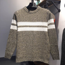 Uwback 2017 New Brand Autumn Men Sweaters O-Neck Striped Pullovers Fashion Knitted Warm Men Clothing Gray Khaki Men Jumper XA166