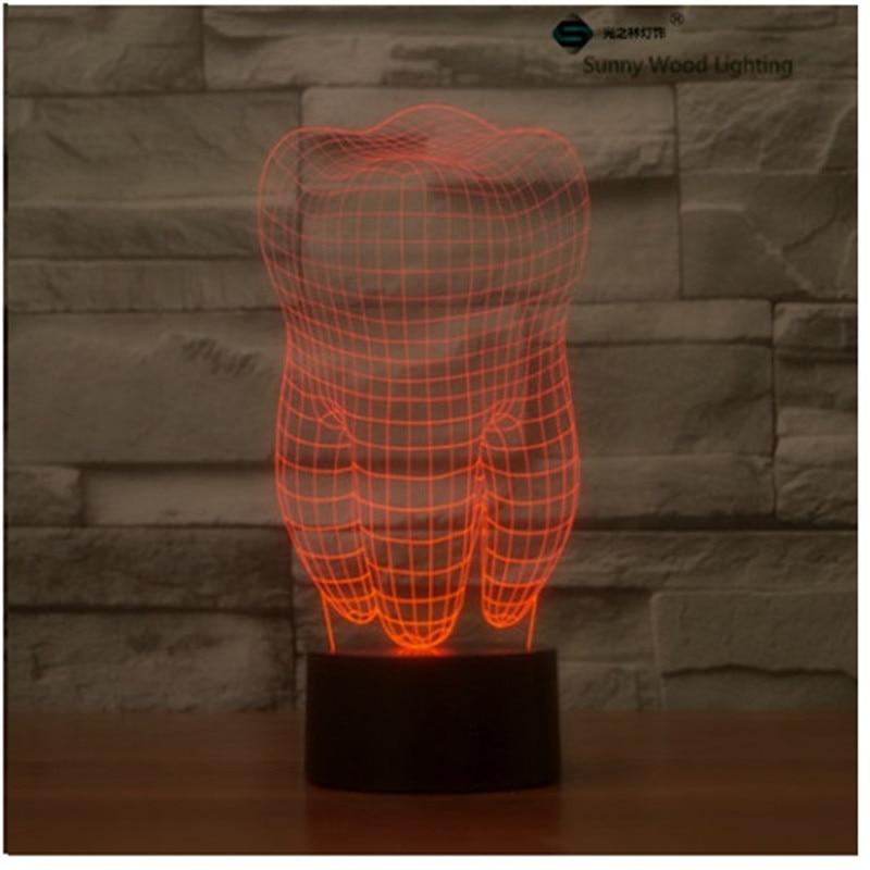 Зуб Сенсорная LED 3D, визуальную иллюзию 7 видов цветов Изменение 5 В USB для ноутбука, Рождество мультфильм игрушки лампы