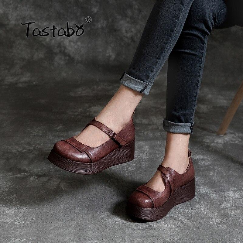 Tastabo 100% Echt Lederen damesschoenen splice Dikke bodem ontwerp Bruin Geel eenvoudige casual stijl S1941 Klittenband 35 40-in Damespumps van Schoenen op  Groep 1